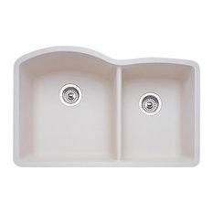 """Blanco 440181 80.8""""x32"""" Granite Double Undermount Kitchen Sink, Biscuit"""