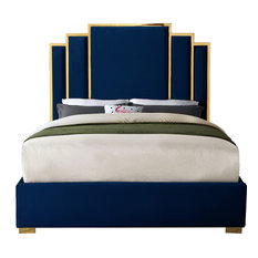 Hugo Navy Velvet King Bed, Navy