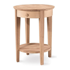 International Concepts   Round Accent Table Drawer   Side Tables And End  Tables