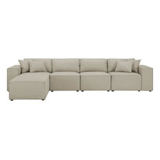 Ermont Reversible Sectional Sofa Chaise in Beige Linen Fabric