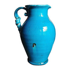 Old World Hand Thrown Heavy Water Jug With Twisted Handle, Ancient Aqua Blue