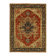 Yasmin Antique-Style Weave Serapi Rug, Red and Black 4'x6'