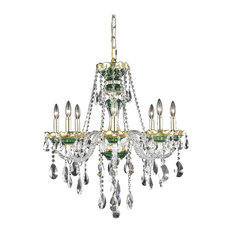 Elegant Lighting Alexandria Hanging Fixture 8 Light Green With Elegant Cut