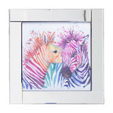 Square Mirror Picture Frame With Glittered Coloured Zebras Illustration