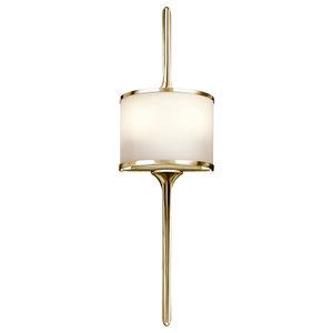 Small LED 2-Light Bathroom Wall Light, Polished Brass