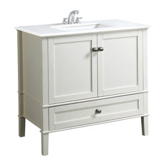 "Simpli Home Ltd. - Chelsea Vanity With White Quartz Marble Top, 37"" -"