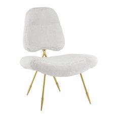 Ponder Upholstered Sheepskin Fur Lounge Chair, White