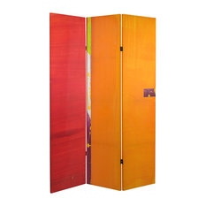 6' Tall Double Sided Vermilion Canvas Room Divider