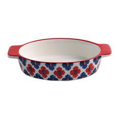 Round Ceramic Bakeware Kitchen Cookware Cupcake Pans Red Blue Flowers