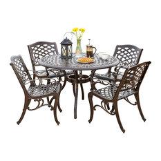 GDFStudio - 5-Piece Covington Outdoor Cast Aluminum Dining Set - Outdoor Dining Sets