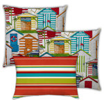 Joita Home - Tropica Punh Indoor/Outdoor, Zippered Pillow Cover, 3-Piece Set - Bring home the feeling of just letting it all go and relaxing in a beach chair, basking in the warm sun and delighting in the colors all around you.  Two jumbo outdoor throw pillows depict a rainbow of beach houses, cabanas, and beach chairs. Rejuvenating colors of orange, lime, yellow, and ocean blue lift your spirits and recharge your batteries, just like a long day at the beach. The red, lime, aqua, and brick striped lumbar pillow re-energizes and uplifts. Distinctive designs, quality workmanship. This outdoor collection is UV and mildew resistant. Zipper Covers Only. Unique designer outdoor item perfect for your poolside, lanai, patio, deck, balcony, terace, veranda, mezzanine, porch.