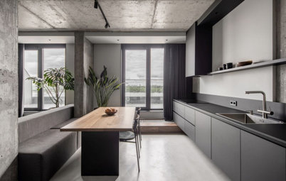 Industrial Vibe Reigns In This Rugged, Brutalist-Style Kitchen