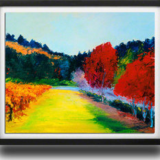 """Bring home Napa Valley with """"Crimson and Vines"""" by Ann Rea, Black Frame, Small"""