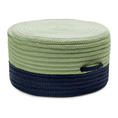 "Color Block Pouf Rug, Navy and Green 20""x20""x11"""