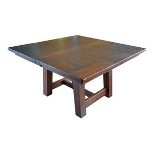 Rustic Hawthorne Farm House Square Table, Barn Floor Plank Top, Rustic Cherry, 2