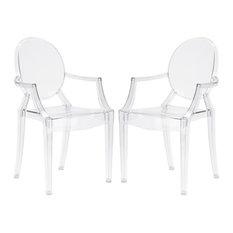 Poly and Bark Burton Arm Chair, Clear, Set of 2