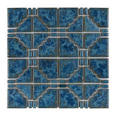 SomerTile Moonbeam Porcelain Mosaic Floor and Wall Tile, Atlantic
