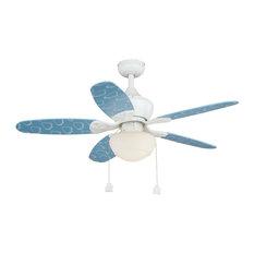 "Alex 44"" Ceiling Fan Blue, Blue with Clouds/Blue Blades"