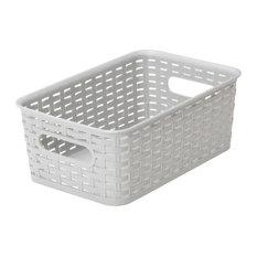 Plastic Rattan Storage BoxBasket Organizer, Gray, Small