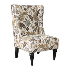 Furniture of America Lysa Wingback Accent Chair in Damask Pattern