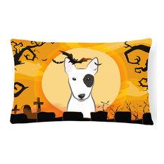 Halloween Bull Terrier Fabric Decorative Pillow
