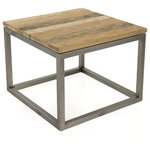 Padma's Plantation - Salamanca Recycled Teak End Table - Contrasting Warm Reclaimed Teak wood and cold Industrial Metal provide Raw appeal that culminates in our Eco Industrial Look!   All of the unique markings, crevasses, fractures and color variations demonstrate the rich history this wood has.     Please note, actual furniture and fabric colors may slightly differ from photos due to lighting and one's individual monitor settings.