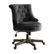 Linon Sinclair Wood Upholstered Swivel Office Chair in Charcoal Gray