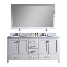 "Ariel Cambridge 73"" Double Sink Bathroom Vanity Set, White"