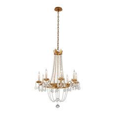Viola, 8 Light Chandelier, Distressed Gold Leaf Finish, Venetian Glass