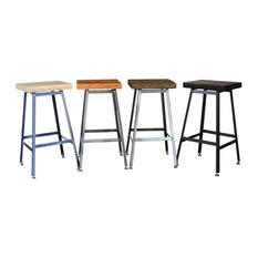 Barnxo Reclaimed Urban Wood Bar Stools Set of 4 Stools xx Clear