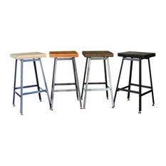 Reclaimed Urban Wood Bar Stools, Set of 4 Stools, Natural Wood, 25x16x16