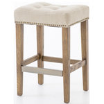 Marco Polo Imports - Shanelle Counter Stool, Light Beige - Classic style meets comfortable materials. Rich tufted seating is supported by solid nettle wood legs with an antique brass-toned kick-plate. Adorned by a metal nail-head trim. Available in four finish & upholstery options: