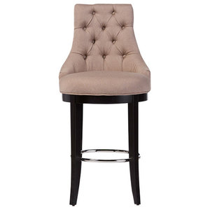Harmony and Button-Tufted Beige Fabric Bar Stool and Metal Footrest