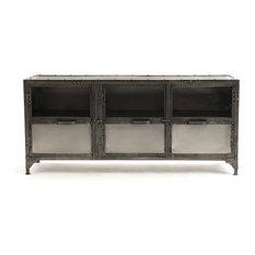 Zin Home   Antique Nickel Finish Iron Media Cabinet   Media Cabinets