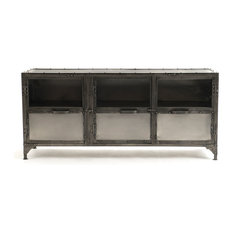 Zin Home   Antique Nickel Finish Iron Media Cabinet   Media Cabinets