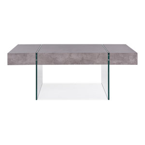 Rae Rectangular Cocktail Table with Clear Tempered Glass Panel Legs, Gray Top