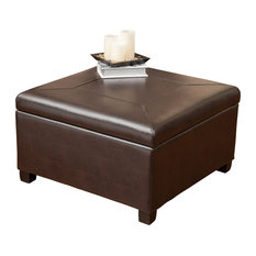 GDFStudio   Sabrina Leather Storage Ottoman Coffee Table   Footstools And  Ottomans