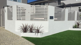 brick and render front fence and garden beds
