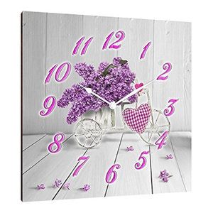 Bike With Love Square Wooden Wall Clock