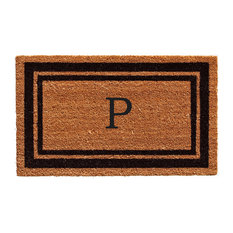 "Black Border 24""x36"" Monogram Doormat, Letter P"
