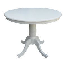 Fastfurnishings Round Dining Table White Wood Finish And Pedestal Base 30