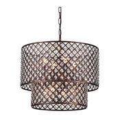 Marya 8-Light Antique Copper Round Double Beaded Drum Glam Crystal Chandelier