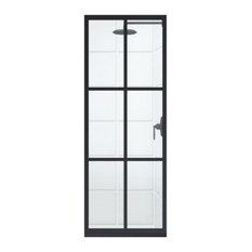 "Coastal Shower Doors Shower Screen, Matte Black and Clear, 30""x75"""