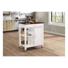 Kitchen Cart With Wooden Top Black & White