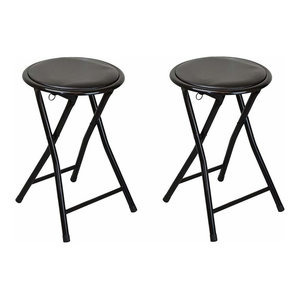 Set of 2 Round Folding Stools With Black Steel Metal Frame and Padded Seat