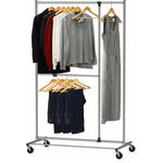 "Brawbuy - Dual Bar Adjustable Garment Rack, Chrome, 72"" Height - Build with Heavy Duty Steel, Elegant Chrome finish"
