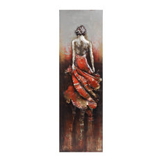 """Lady in Red"" Mixed Media Iron Hand Painted Dimensional Wall Art"