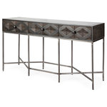 MAFLD - Hobbart Console - Hobbart is our latest series of furniture that is made from dark stained Indian mango wood, with painstakingly handcrafted inset diamond designs with matching pull knobs and sturdy yet stylish iron base. It features 3 drawers per side for maximum storage flexibility.