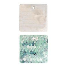 "Monika Strigel Lily Mint Mermaid Cutting Board Square, 11.5""x11.5"""