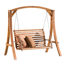 GDFStudio - Marlette Outdoor Teak Stained Wood Swinging Bench And Base - Porch Swings
